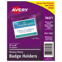 Avery 74471 4 inch x 3 inch Clear Horizontal Secure Top Heavy-Duty Badge Holder - 25/Pack