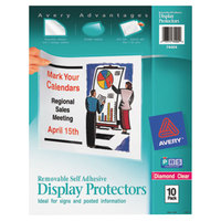 Avery 74404 8 1/2 inch x 11 inch Removable Self-Adhesive Heavyweight Top-Load Sheet Protector, Letter - 10/Pack