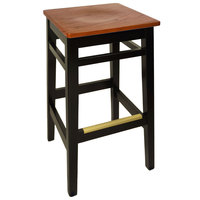 BFM Seating LWB680BLASH Trevor Black Beechwood Bar Stool with Autumn Ash Seat