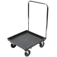 Vollrath Traex® 21 inch x 21 inch Black Recycled Rack Dolly with 30 inch Chrome-Plated Handle