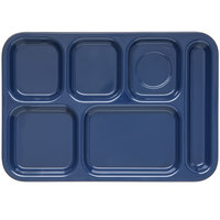 Carlisle 4398850 Dark Blue 10 inch x 14 inch Heavy Weight Melamine Right Hand 6 Compartment Tray