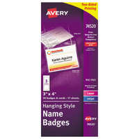Avery 74520 4 inch x 3 inch White Horizontal Hanging-Style Laser / Ink Jet Name Badge and Top-Loading Holder - 50/Box