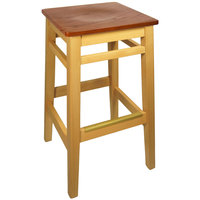 BFM Seating LWB680NTASH Trevor Natural Beechwood Bar Stool with Autumn Ash Seat
