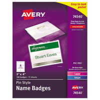 Avery 74540 4 inch x 3 inch White Horizontal Laser / Ink Jet Name Badge and Top-Loading Pin Holders - 100/Box