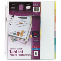 Avery 74161 8 1/2 inch x 11 inch Protect 'N Tab Clear Heavyweight 8 Tab Top-Load Sheet Protectors, Letter - 8/Pack