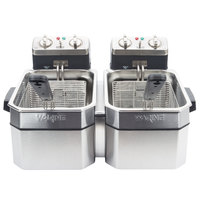 Waring WDF1000D Double 10 lb. Commercial Countertop Deep Fryer Set -120V