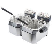 Waring WDF1000D Double 10 lb. Commercial Countertop Deep Fryer Set -120V