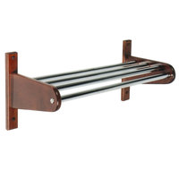 CSL TFX-1824 24 inch Mahogany Frame Wall Mount Coat Rack with Metal Interior Top Bars with 1 inch Hanging Rod