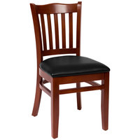 BFM Seating LWC7218MHBLV Princeton Mahogany Beechwood School House Side Chair with 2 inch Black Vinyl Seat