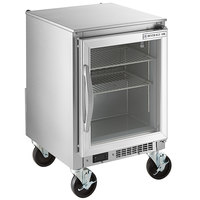 Beverage-Air UCR20HC-25 20 inch Shallow Depth Low Profile Undercounter Refrigerator with Glass Door and LED Lighting