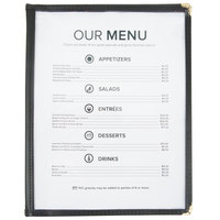 8 1/2 inch x 11 inch Six Pocket Clear Menu Cover - Black