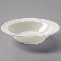 Tuxton MED-064 Meridian 8 oz. Eggshell Embossed Swirl Rim China Grapefruit Bowl / Dish - 36/Case
