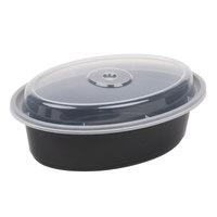 Newspring OC-16-B 16 oz. Black 6 3/4 inch x 4 3/4 inch x 1 7/8 inch VERSAtainer Oval Microwavable Container with Lid - 150/Case