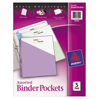 Avery AVE75254 9 1/4 inch x 11 inch Assorted Color Three Ring Binder Pocket   - 5/Pack