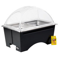 Sterno Full Size ChalkBoard Fold-Away WindGuard Chafer with Black Matte Finish, Two 1/2 Size Pans, and Clear Dome Lid