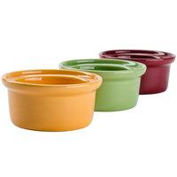 Tuxton DYB-1006 7.5 oz. Assorted Colors China Casserole Dish / Bowl - 12/Case
