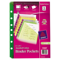 Avery 75307 5 1/2 inch x 8 1/2 inch Mini Assorted Binder Pocket - 5/Pack