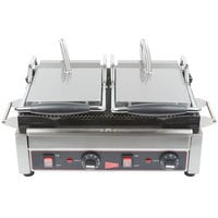 Cecilware SG2LG Double Panini Sandwich Grill with Grooved Grill Surfaces - 14 1/2 inch x 9 inch Cooking Surface - 240V, 3200W