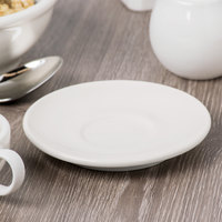 Syracuse China 902903007 Flint Barista 5 1/4 inch Ivory (American White) Porcelain Small Saucer - 36/Case