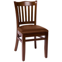 BFM Seating LWC7218WALBV Princeton Walnut Beechwood School House Side Chair with 2 inch Brown Vinyl Seat