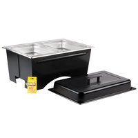 Sterno Products Full Size ChalkBoard Fold-Away WindGuard Chafer with Black Matte Finish, Two 1/2 Size Pans, and Lid