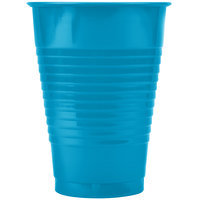 Creative Converting 28313171 12 oz. Turquoise Blue Plastic Cup - 20/Pack