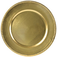 10 Strawberry Street LAG-24D 13 inch Beaded Rim Lacquer Round Gold Charger Plate