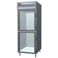 Delfield SMR1S-GH Stainless Steel 18 Cu. Ft. One Section Glass Half Door Shallow Reach In Refrigerator - Specification Line