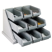 Cambro 9RS9480 Speckled Gray Versa Self Serve Condiment Bin Stand Set with 3-Tier Stand and 12 inch Condiment Bins