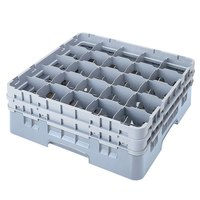 Cambro 25S318151 Camrack 3 5/8 inch High Customizable Soft Gray 25 Compartment Glass Rack