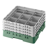 Cambro 9S1114119 Sherwood Green Camrack 9 Compartment 11 3/4 inch Glass Rack