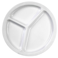 Thunder Group NS702W Nustone White Melamine 3 Compartment Plate 10 inch   - 12/Pack