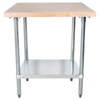 Advance Tabco H2G-363 Wood Top Work Table with Galvanized Base and Undershelf - 36 inch x 36 inch