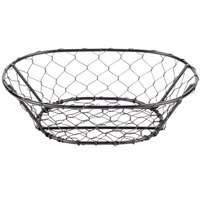 American Metalcraft WIR4 Oval Black Chicken Wire Basket - 9 1/2 inch x 6 1/2 inch x 2 1/2 inch