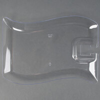 Fineline Wavetrends 1409-CL 6 inch x 9 1/2 inch Clear Plastic Cocktail Plate with Stemware Hole - 10 / Pack