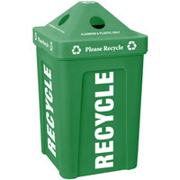 Green Stacking Pyramid Lid Recycle Bin - 48 Gallon