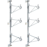 Metro SW55C Super Erecta Chrome Triple Level Post-Type Wall Mount End Unit for 24 inch Deep Shelf - 2/Pack