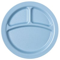 Carlisle PCD22059 Slate Blue Narrow Rim 3-Compartment 9 inch Polycarbonate Plate - 48/Case