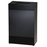 Rubbermaid FGSR14EPLTBK Silhouettes Black Steel Designer Rectangular Waste Receptacle - 25 Gallons