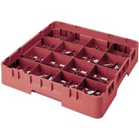 Cambro 16S1058416 Camrack 11 inch High Customizable 16 Cranberry Compartment Glass Rack