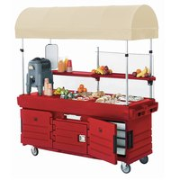 Cambro KVC854C158 CamKiosk Hot Red Customizable Vending Cart with 4 Pan Wells and Canopy