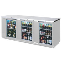 Beverage Air BB94G-1-S-LED 94 inch Back Bar Refrigerator with 3 Glass Doors and Stainless Steel Front - 115V, LED Lighting