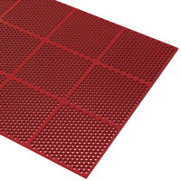 Cactus Mat 2535-R34 Honeycomb 3' x 4' Red Grease-Resistant Anti-Fatigue Rubber Mat - 9/16 inch Thick