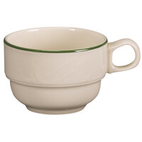 Homer Laughlin 1569618 Lyrica Lydia Green 7.75 oz. Off White China Tea Cup - 36/Case