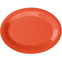 GET OP-120-RO Diamond Mardi Gras 12 inch x 9 inch Rio Orange Oval Melamine Platter - 12/Case