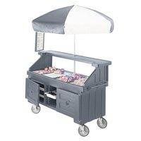 Cambro CVC72191 Camcruiser Granite Gray Customizable Vending Cart with Umbrella and 3 Counter Wells