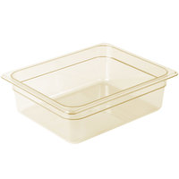 Cambro 24HP150 H-Pan™ 1/2 Size Amber High Heat Plastic Food Pan - 4 inch Deep