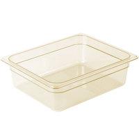 Cambro 24HP150 H-Pan™ 1/2 Size Amber High Heat Food Pan - 4 inch Deep