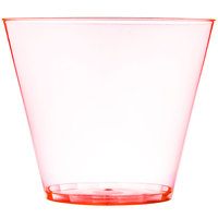 Fineline Savvi Serve 409-ORG 9 oz. Squat Neon Orange Hard Plastic Tumbler - 20/Pack
