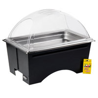 Sterno Products Full Size ChalkBoard Fold-Away WindGuard Chafer with Black Matte Finish, Full Size Pan, and Clear Dome Lid